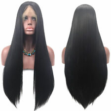 Natural Long Straight Black Human Hair Wigs Lace Front Full Wig With Baby Hair