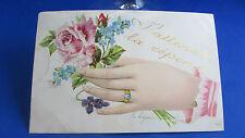 cpa fantaisie illustrateur demande mariage main fleurs rose