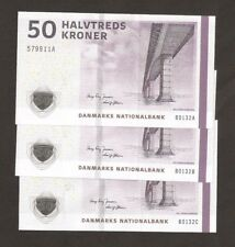 More details for 3 x denmark 50 kroner matching signature  set  uncirculated !!!