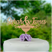PERSONALISED Rustic Wood Love Heart Wedding Engagement Cake Topper Decoration