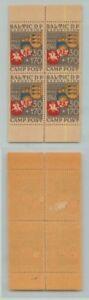 Estonia 🇪🇪 1946 30+170 Baltic DP Camp Schongau mint block of 4 . d8217