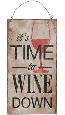 Fun Metal Sign/Plaque-It's Time to Wine Down by Carson Home Accents