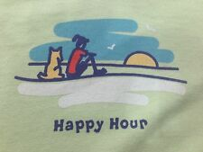 "LIFE IS GOOD Womens ""Happy Hour"" Green 100% Cotton T-Shirt XL Short Sleeve"