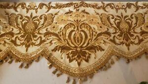Old antique vintage retro drapery curtain valance fabric tassel gold 5 yards
