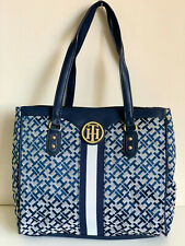 NEW! TOMMY HILFIGER BLUE EAST WEST SATCHEL SHOPPER TOTE BAG PURSE $99 SALE