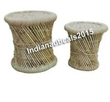 Collectible Nautical Bamboo stool Mudda Natural Home Garden X mas Gifted Set Of2
