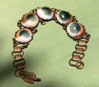 Vintage CAT'S EYE Operculum SHELL NECKLACE ETCHED BRASS BRACELET