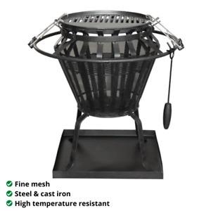 Jumbuck Brazier BBQ Fire Pit Cooker Heater Combo Outdoor Steel Cast Iron Black