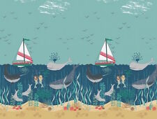 By 1/2 Yard Lewis & Irene Fabric Tales of the Sea Border ~ Mermaid Narwhal Ocean