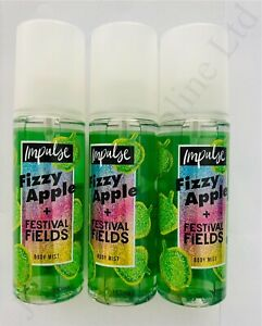 3 x IMPULSE FIZZY APPLE + FESTIVAL FIELDS BODY MIST 150ML