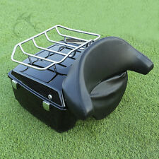 Black King Tour Pak Pack Trunk W/ Luggage Rack For Harley Davidson Touring 97-13