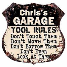 BPG0096 CHRIS'S GARAGE TOOL RULES Shield Sign Man Cave Decor Funny Gift