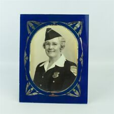 Vintage WW2 Reverse Painted Glass Frame Auxiliary Military Police Woman Photo