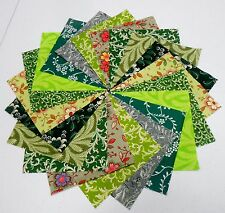 "40 5"" Quilting Fabric Squares Green Grass/Shades of Green/BUY IT NOW!!!"