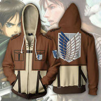 Anime Attack on Titan Shingeki no Kyojin Hoodie Sweatshirts Zipper Coat Jacket