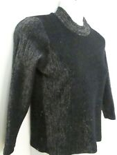 Vintage 1960's Black Lurex-Knit Top/ Sweater, High-Neck, Glam, Goth, Mod, 6-10