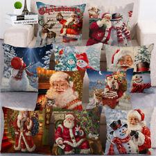 Christmas Santa Claus Snowman Cushion Cover Custom Zippered Square Pillow Case
