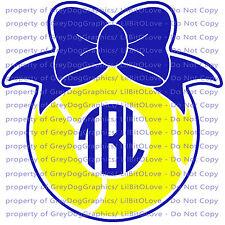 Custom Tennis Monogram Vinyl Decal 2 Colors Your Initials Bow on Ball Sticker