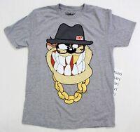 Looney Tunes Men's Taz Tasmanian Devil Goldchain Hat Tee Shirt Size M Gray