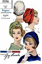 BERET Designer GUY LAROCHE Cancer Chemo Alopecia Fabric Sew Pattern VOGUE 5336