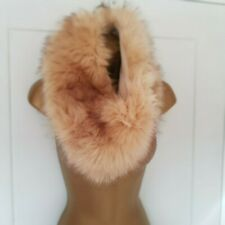 """LOVELY BEIGE FAUX FUR SNOOD SCARF 15"""" LAID FLAT 30 DIA"""