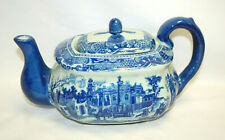 Victoria Ware Ironstone Transferware Flow Blue and White Teapot with Lid S9097