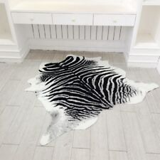 Zebra Cowhide Cow Area Rug Cowskin Cow Hide Faux Leather Carpet 5.2'x4.3' Home
