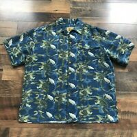 Joe Marlin Men's Hawaiian Camp Shirt Size Large Blue Soft Rayon Button Down