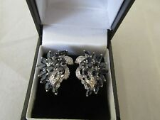 18ct White Gold Diamond and Blue Sapphire Earrings Pierced or Clip n Combination