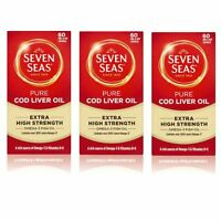 Seven Seas Pure Cod Liver Oil | Extra High Strength | 60 Capsules - 3 Pack