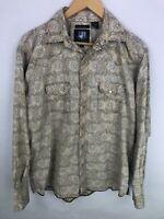 Resistol University RU Snap Button Long Sleeve Shirt Mens Medium Brown