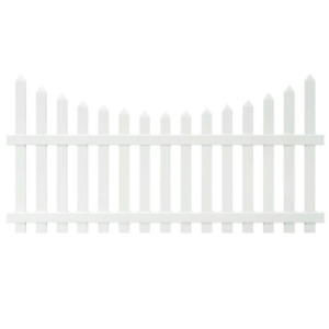Glendale Scalloped Top Spaced Picket Fence Panel White Vinyl 4 ft. H x 8 ft. W