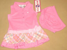 New KidZone Size 6-9 Months Pink Sleeveless Collared Dress with Diaper Cover