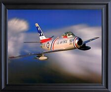 F-86 Sabre Jet Military Aircraft Aviation Picture Black Framed Art Print (19x23)