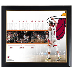Dwyane Wade Miami Heat Game Collage Facsimile Signed Official NBA Print Framed