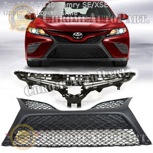Fits 2018 2019 2020 Toyota Camry SE XSE Front Bumper Upper & Lower Grille