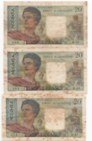 FRENCH ADMINISTRATION BANQUE DE L'INDOCHINE PAPEETE 3  x  20 FRANCS ND 1954-58 F