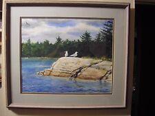 Vintage Sam Knecht Watercolor Painting Michigan Artist Seagulls Lake Scene