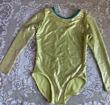 Veva by Very Vary Big Girls Yellow Lime Hologram Foil Gymnastic Leotard Girls 10