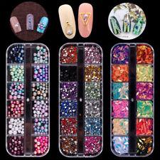 3D Bijoux Ongle Déco Glitter Strass Cristal Acrylic Rivet Gel UV Tips Nail Art