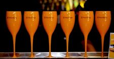 VEUVE CLICQUOT YELLOW CHAMPAGNE POOLSIDE POLY CARBONATE  FLUTES NEW BOXED X 24
