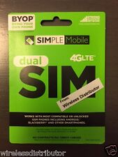 Simple Mobile Micro Mini Dual Sim Card T-Mobile Network Unlimited Use ,