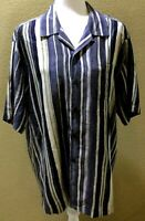 Tommy Bahama Men's 100% Silk button front Blue And Gray Striped Shirt Size M