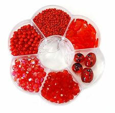 500+ Red 6 different Variety Beads Lady Bug kit bead box New
