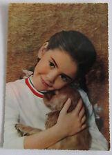 Cartolina d'epoca -  Bambina -  postcard - tarjeta - cane