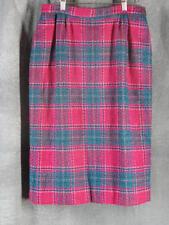 Pendleton 12 Fuschia Teal Plaid A-Line Skirt 100% Wool A-Line
