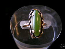 Sterling Silver Oblong Stone Jade Ring Gold Plated #2