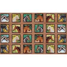 Caballo paneles Colchas de retazos de tela - 24 paneles (12 cm ²) - Wild Wings Endless Summer
