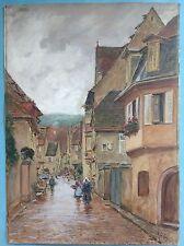 Gouache Gemälde Riquewihr Reichenweier Elsas Richard Lipps Münchner Schule~1910