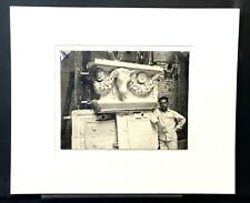 Vintage Louis H. Dreyer Black and White Photograph of Artist and His Sculpture